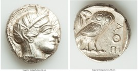 ATTICA. Athens. Ca. 440-404 BC. AR tetradrachm (25mm, 17.22 gm, 7h). AU. Mid-mass coinage issue. Head of Athena right, wearing crested Attic helmet or...