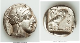 ATTICA. Athens. Ca. 440-404 BC. AR tetradrachm (25mm, 17.12 gm, 4h). AU. Mid-mass coinage issue. Head of Athena right, wearing crested Attic helmet or...