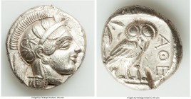 ATTICA. Athens. Ca. 440-404 BC. AR tetradrachm (26mm, 17.07 gm, 6h). AU, Full Crest, test cut. Mid-mass coinage issue. Head of Athena right, wearing c...