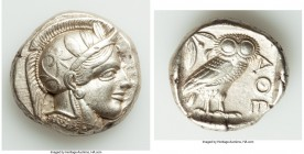ATTICA. Athens. Ca. 440-404 BC. AR tetradrachm (23mm, 17.17 gm, 1h). Choice XF, Full Crest. Mid-mass coinage issue. Head of Athena right, wearing cres...