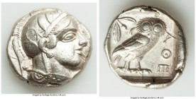 ATTICA. Athens. Ca. 440-404 BC. AR tetradrachm (26mm, 17.14 gm, 5h). Choice XF. Mid-mass coinage issue. Head of Athena right, wearing crested Attic he...