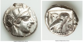 ATTICA. Athens. Ca. 440-404 BC. AR tetradrachm (25mm, 17.17 gm, 6h). XF, flan flaws. Mid-mass coinage issue. Head of Athena right, wearing crested Att...