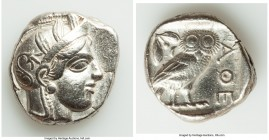 ATTICA. Athens. Ca. 440-404 BC. AR tetradrachm (25mm, 17.17 gm, 6h). XF, marks. Mid-mass coinage issue. Head of Athena right, wearing crested Attic he...