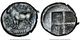 BITHYNIA. Calchedon. Ca. 367/6-340 BC. AR drachm (16mm). NGC Choice XF. KAΛX, bull standing left on grain ear pointed right; caduceus and ΔΑ monogram ...