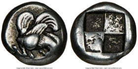 MYSIA. Lampsacus. Ca. 500-450 BC. EL sixth-stater or hecte (10mm). NGC Choice Fine. Forepart of Pegasus right / Quadripartite incuse square with two s...