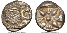 IONIA. Miletus. Ca. late 6th-5th centuries BC. AR 1/12 stater or obol (9mm, 1.17 gm). NGC MS 5/5 - 4/5. Milesian standard. Forepart of roaring lion le...