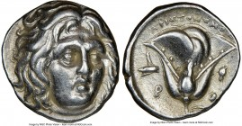 CARIAN ISLANDS. Rhodes. Ca. 275-250 BC. AR didrachm (18mm, 12h). NGC XF. Aristonomos, magistrate. Head of Helios facing, turned slightly right, hair p...