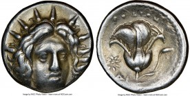 CARIAN ISLANDS. Rhodes. Ca. 250-205 BC. AR didrachm (19mm, 12h). NGC VF. Struck ca. 250 BC. Radiate head of Helios facing slightly to right / ΡΟΔΙΟΝ, ...