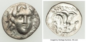 CARIAN ISLANDS. Rhodes. Ca. 205-190 BC. AR hemidrachm (12mm, 1.12 gm, 12h). AU, traces of horn silver. Illegible magistrate, possibly Peisicrates. Fac...