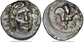 CARIAN ISLANDS. Rhodes. Ca. 125-88 BC. AR didrachm (19mm, 11h). NGC XF. Timocrates, magistrate. Radiate head of Helios facing, turned slightly right, ...