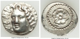 CARIAN ISLANDS. Rhodes. Ca. 84-30 BC. AR drachm (18mm, 4.00 gm, 11h). VF. Radiate head of Helios facing, turned slightly right, hair parted in center ...