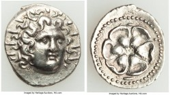 CARIAN ISLANDS. Rhodes. Ca. 84-30 BC. AR drachm (19mm, 4.04 gm, 12h). Choice XF, scuffs. Radiate head of Helios facing, turned slightly right, hair pa...