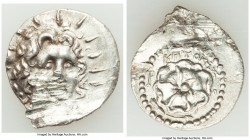CARIAN ISLANDS. Rhodes. Ca. 84-30 BC. AR drachm (21mm, 4.15 gm, 6h). AU, damaged. Critocles, magistrate. Radiate head of Helios facing, turned slightl...