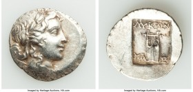 LYCIAN LEAGUE. Masicytes. Ca. 48-20 BC. AR hemidrachm (16mm, 1.78 gm, 12h). AU. Series 2. Laureate head of Apollo right, bow and quiver over left shou...