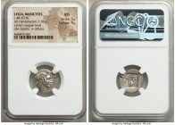LYCIAN LEAGUE. Masicytes. Ca. 48-20 BC. AR hemidrachm (17mm, 1.90 gm, 12h). NGC MS 5/5 - 4/5. Series 2. Laureate head of Apollo right, wearing taenia;...