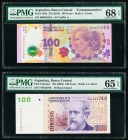 Argentina Banco Central 100 Pesos ND (2012); ND (2003) Pick 358a Commemorative; UNL Two Examples PMG Superb Gem Unc 68 EPQ; Gem Uncirculated 65 EPQ.  ...