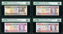 Barbados Central Bank 10; 20 (3) Dollars ND (1986) (2); ND (2000); 2.5.2012 Pick 35A; 39; 63A; 72 Four Examples PMG About Uncirculated 55 EPQ; Very Fi...