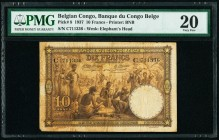 Belgian Congo Banque du Congo Belge 10 Francs 10.9.1937 Pick 9 PMG Very Fine 20. Stained is mentioned on the holder.  HID09801242017  © 2020 Heritage ...