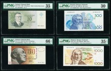 Belgium Banque Nationale de Belgique 500; 1000 Francs ND (1982-98); ND (1980-96) Pick 143; 144a Two Examples PMG Very Fine 30; Choice Very Fine 35 EPQ...
