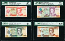 Belize Central Bank 5; 10; 50; 20 Dollars 1.1.2002; 1.2001; 1.8.2010; 1.1.2012 Pick 61b; 62b; 70d; 72 Four Examples PMG Gem Uncirculated 65 EPQ (2); C...