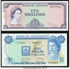 Bermuda Bermuda Government 1 Dollar 1970 Pick 23a Very Fine; Jamaica Bank of Jamaica 10 Shillings L. 1960 (1964) Pick 51Be Very Fine.   HID09801242017...