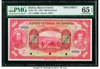 Bolivia Banco Central 1000 Bolivianos 20.7.1928 Pick 127s Specimen PMG Gem Uncirculated 65 EPQ. Three POCs; blue Specimen overprints.  HID09801242017 ...
