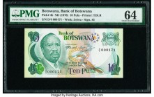 Botswana Bank of Botswana 10 Pula ND (1976) Pick 4b Low Serial Number 171 PMG Choice Uncirculated 64. Low Serial Number 000171.  HID09801242017  © 202...
