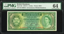 British Honduras Government of British Honduras 1 Dollar 1.1.1972 Pick 28c PMG Choice Uncirculated 64. PMG mentions Great Embossing.  HID09801242017  ...