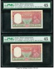 Burma Reserve Bank of India 5 Rupees ND (1938) Pick 4 Jhun5.4.1 Two Consecutive Examples PMG Choice Extremely Fine 45. Staple holes at issue; minor ru...