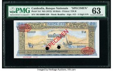 Cambodia Banque Nationale du Cambodge 50 Riels ND (1972) Pick 7s2 Specimen PMG Choice Uncirculated 63. Two POCs; red TDLR and Specimen overprints; for...