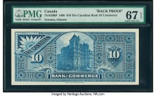 Canada Toronto, ON- Canadian Bank of Commerce $10 ND (1888-1901) Ch.# 75-14-20BP Back Proof PMG Superb Gem Unc 67 EPQ.   HID09801242017  © 2020 Herita...