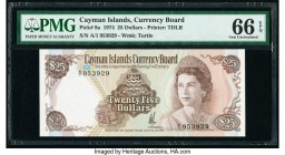 Cayman Islands Currency Board 25 Dollars 1974 (ND 1981) Pick 8a PMG Gem Uncirculated 66 EPQ. The first of three consecutive serial numbers.  HID098012...