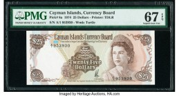 Cayman Islands Currency Board 25 Dollars 1974 (ND 1981) Pick 8a PMG Superb Gem Unc 67 EPQ. The second of three consecutive serial numbers.  HID0980124...