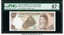 Cayman Islands Currency Board 25 Dollars 1974 (ND 1981) Pick 8a PMG Superb Gem Unc 67 EPQ. The third of three consecutive serial numbers.  HID09801242...