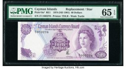 Cayman Islands Currency Board 40 Dollars 1974 (ND 1981) Pick 9a* Replacement PMG Gem Uncirculated 65 EPQ. The second of two consecutive serial numbers...