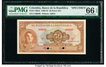 Colombia Banco de la Republica 50 Pesos Oro 20.7.1958 Pick 402s2 Specimen PMG Gem Uncirculated 66 EPQ. Two POCs; red Specimen overprint.  HID098012420...