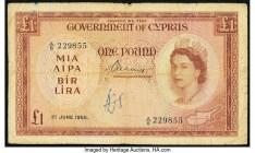 Cyprus Government of Cyprus 1 Pound 1.6.1955 Pick 35a Fine. Edge splits; graffiti.  HID09801242017  © 2020 Heritage Auctions | All Rights Reserved
