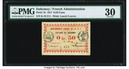 Dahomey Gouvernment General de l'Afrique Occidentale Francaise 0.50 Franc 11.2.1917 Pick 1b PMG Very Fine 30. Foreign substance is noted.  HID09801242...