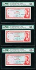 East Caribbean States Currency Authority 1 Dollar ND (1965) Pick 13h; 13k; 13o Three Examples PMG Choice Uncirculated 64; Choice Uncirculated 64 EPQ; ...