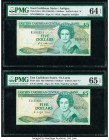 East Caribbean States Central Bank 5 Dollars ND (1988-93) Pick 22l2; 22a1 Two Examples PMG Gem Uncirculated 65 EPQ; Choice Uncirculated 64 EPQ.   HID0...