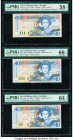 East Caribbean States Central Bank, Antigua 10 Dollars ND (1994); ND (2000); ND (2003) (3) Pick 32a; 38l; 43a; 43d; 43v Five Examples PMG Choice About...