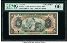 Ecuador Banco Central del Ecuador 10 Sucres 1939-49 Pick 92s Specimen PMG Gem Uncirculated 66 EPQ. Two POCs; blue Specimen overprints.  HID09801242017...