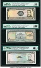 El Salvador Banco Central de Reserva de El Salvador 1; 2; 10 Colones 31.8.1971; 15.10.1974; 24.6.1976 Pick 115a; 116b; 118a Three Examples PMG Gem Unc...