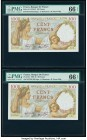 France Banque de France 100 Francs 9.1.1941 Pick 94 Two Consecutive Examples PMG Gem Uncirculated 66 EPQ.   HID09801242017  © 2020 Heritage Auctions |...