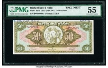 Haiti Republique D'Haiti 50 Gourdes 1919 (ND 1967) Pick 194s Specimen PMG About Uncirculated 55. Roulette CANCELLED; printer's annotations; previously...