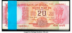 India Reserve Bank of India 20 Rupees ND (1997) Pick 82k Jhun6.5.3.2, Original Pack of 100 Crisp Uncirculated. Stapled as issued.  HID09801242017  © 2...