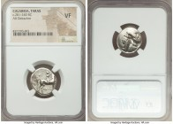 CALABRIA. Tarentum. Ca. 281-240 BC. AR stater or didrachm (20mm, 9h). NGC VF. Leon- and An-, magistrates. Nude youth on horseback right, crowning hors...