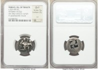 THRACIAN ISLANDS. Thasos. Ca. 500-450 BC. AR stater (21mm, 8.62 gm). NGC Choice Fine 5/5 - 2/5, cut. Nude ithyphallic satyr running right, carrying st...