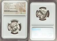 ATTICA. Athens. Ca. 440-404 BC. AR tetradrachm (24mm, 17.17 gm, 4h). NGC Choice AU S 5/5 - 5/5. Mid-mass coinage issue. Head of Athena right, wearing ...