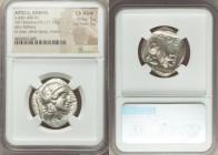 ATTICA. Athens. Ca. 440-404 BC. AR tetradrachm (27mm, 17.18 gm, 4h). NGC Choice AU S 5/5 - 5/5. Mid-mass coinage issue. Head of Athena right, wearing ...